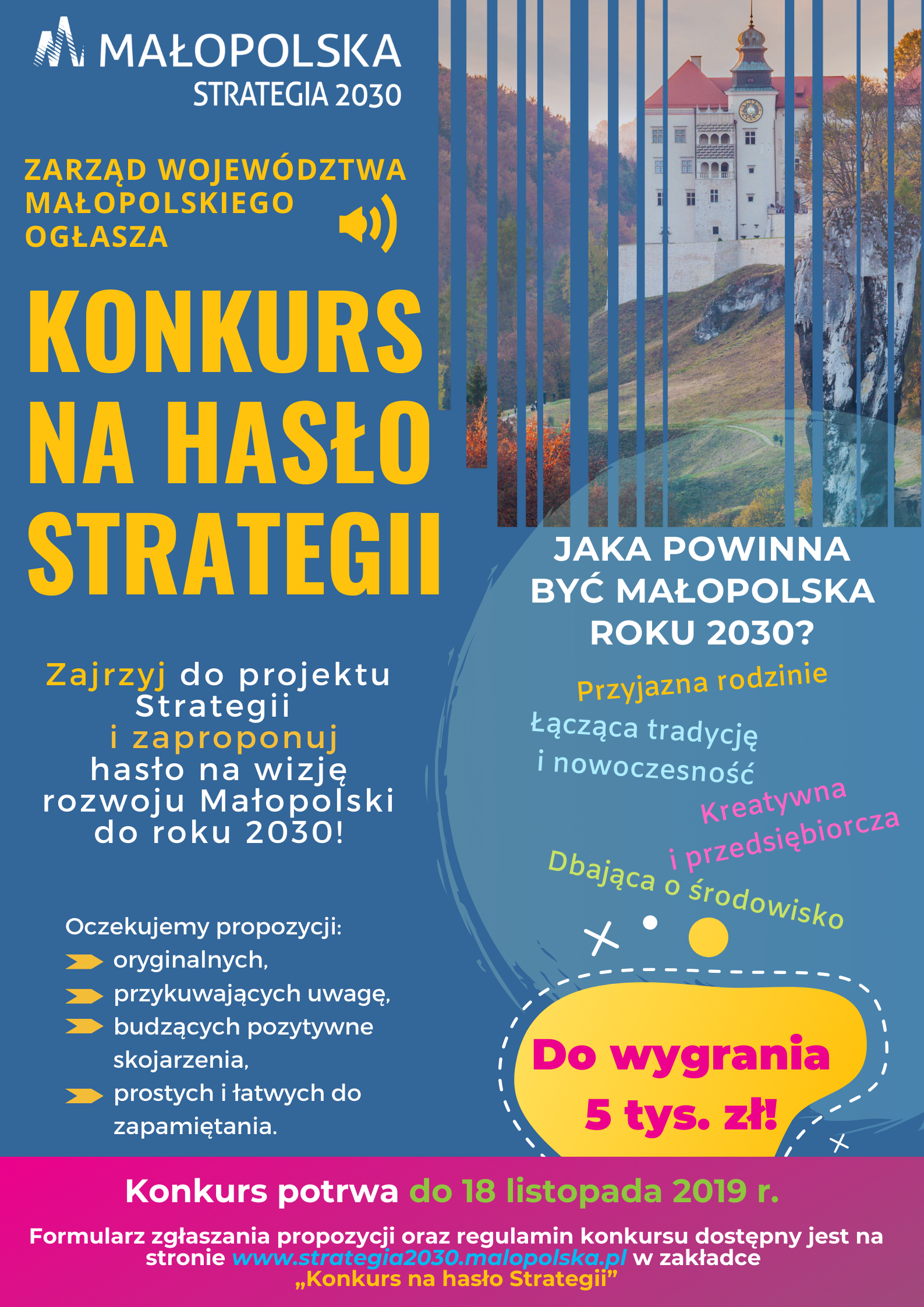 Plakat konkursu na hasło Strategii Rozwoju Województwa ,,Małopolska 2030″