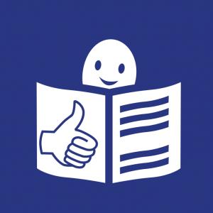 Logo tekstu łatwego do czytania irozumienia: głowa nad otwartą książką ipodniesiony wgórę kciuk wgeście OK.